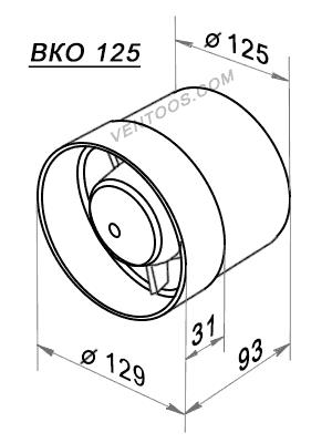 Размеры вентилятора Домовент 125 ВКО