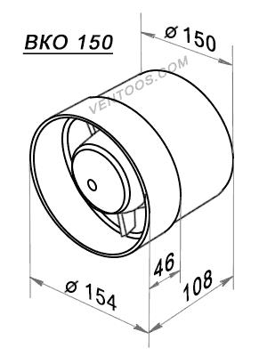 Габаритные размеры Домовент 150 ВКО