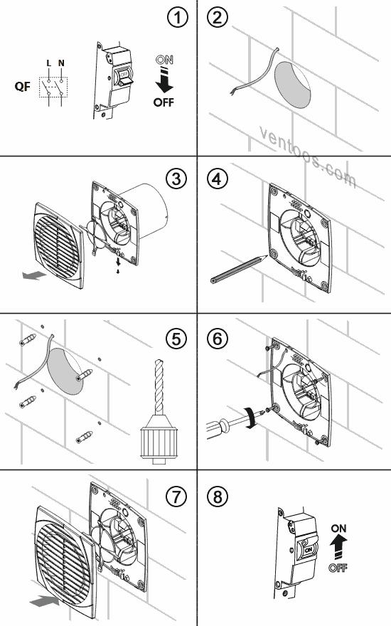 Последовательность действий при монтаже вентилятора Vents 150 D